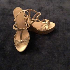 Kate Spade gold sparkle low wedges